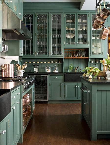 blue green kitchen cabinets dark green kitchens house home