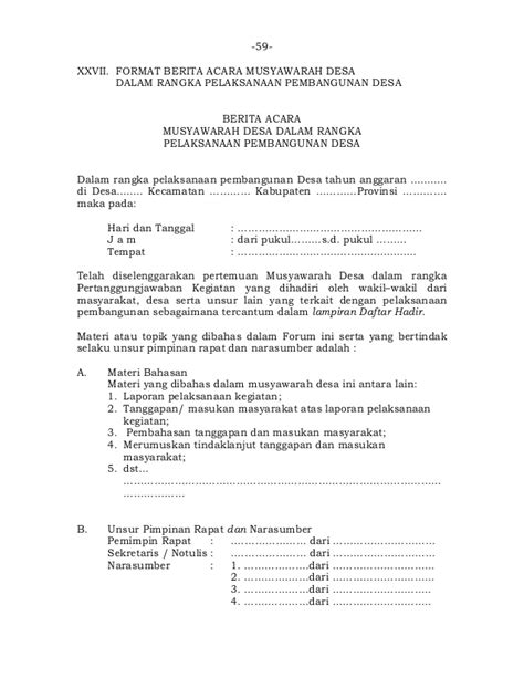 format berita acara musrenbangdes format berita acara eksekusi permendagri 114 2014 format