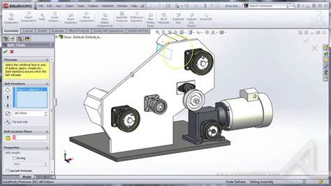 tutorial solidwork assembly การใช คำส ง belt และ chain ใน assembly ของ solidworks