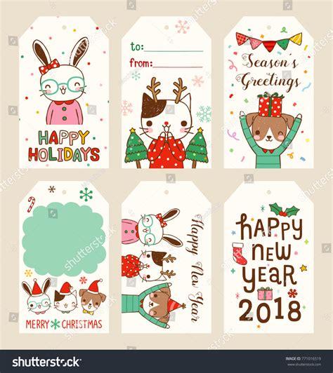 new year 2018 animal rabbit set merry happy new year stock vector 771016519