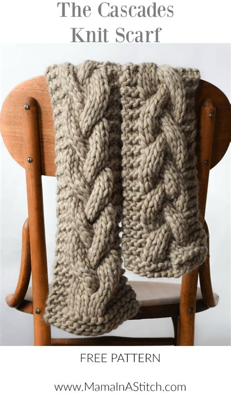 knitting patterns scarf pinterest the cascades knit scarf mama in a stitch