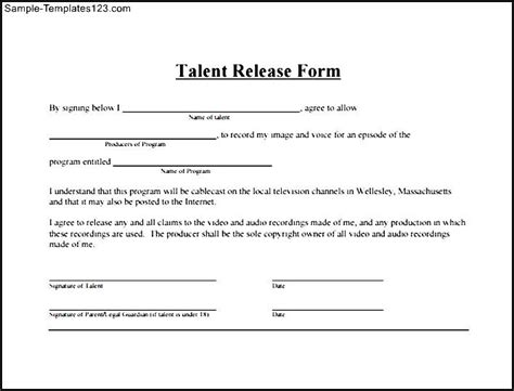 simple photo release form template simple talent release form sle templates