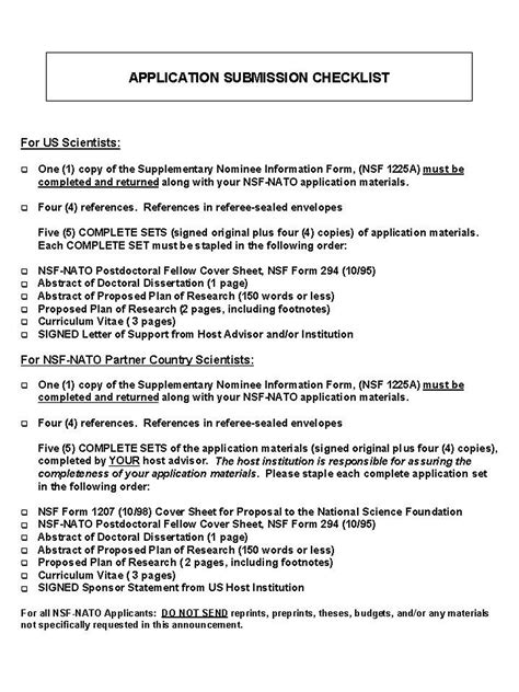 nsf format proposal fy 2000 nato postdoctoral fellowships program announcement