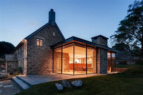 convert traditional home to modern современная пристройка к старому каменному дому