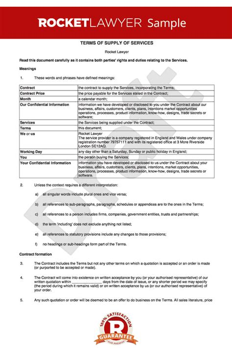 term and conditions template business t c for supply of services to business customers
