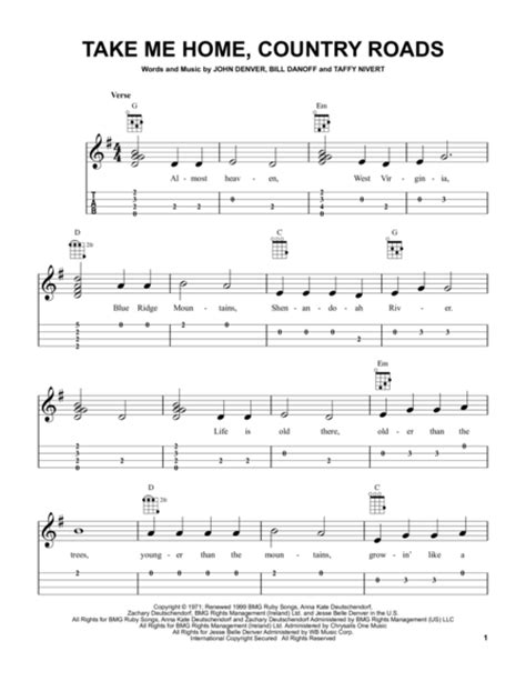 take me home country roads sheet by