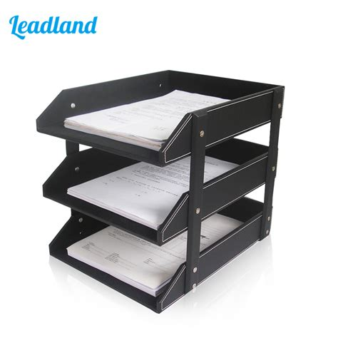 Desk Paper Organizers Aliexpress Buy 3 Layers Pu Leather Desk A4 Document File Tray Rack File Shelf Frame Paper