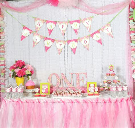 Themes For Girl 1st Birthday Party | a cupcake themed 1st birthday party with paisley and polka