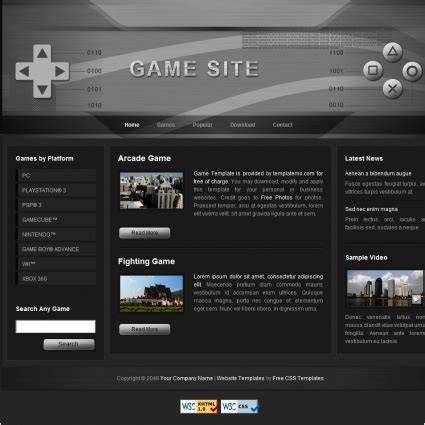 game website layout game free website templates in css html js format for
