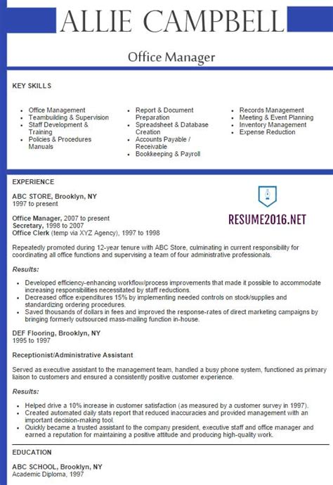 best resume format for office manager office manager resume 2016 best sles