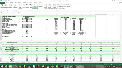 Free Value Investing Excel Stock Spreadsheet Free Value Investing Stock Spreadsheet Excel Stock Template
