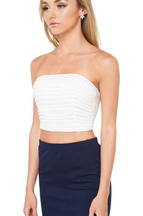 Bandeau Top across lines bandeau top white in white lyst