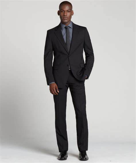 Overall Prada lyst prada nero black wool two button suit with flat