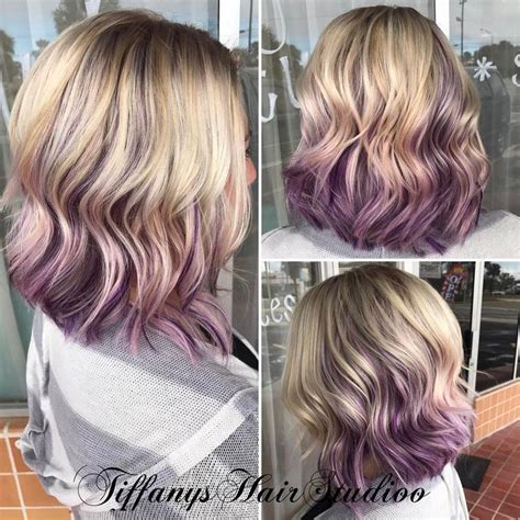 blonde hairstyles with purple streaks blonde with purple highlights www pixshark com images