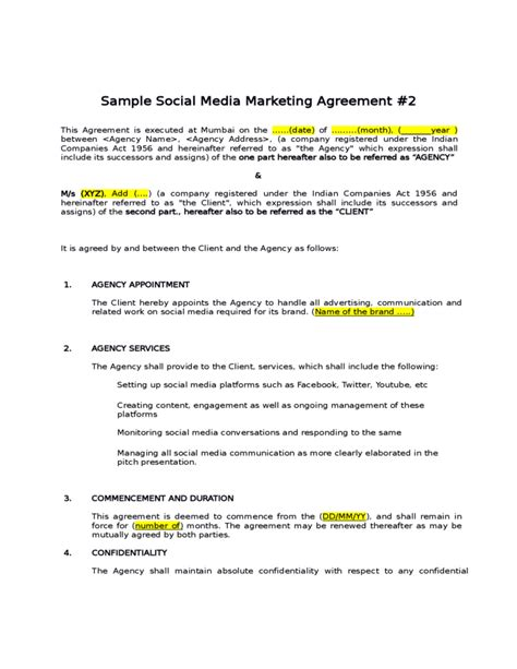 social media contract template sle social media marketing agreement free