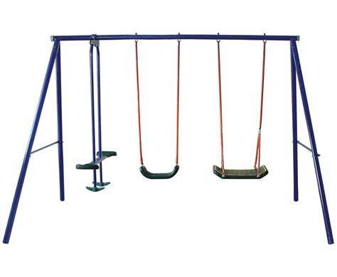 swing set with seesaw foxhunter kids outdoor garden metal frame double seat