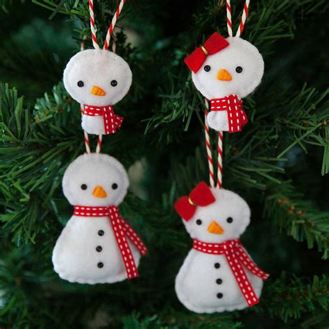 snowman family christmas tree decorations by miss shelly