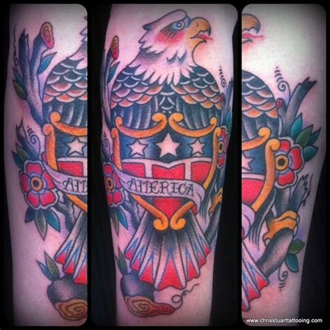 eagle tattoo charlotte nc traditional eagle shield america tattoo by chris