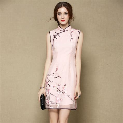 Qipao Pink Chiongsam Sweet Sleeveless Silk Cheongsam Qipao Dress Pink Qipao