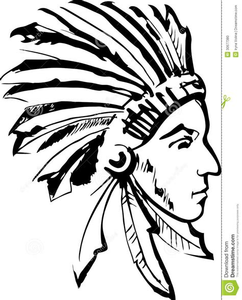 Imagenes De Indios En Blanco Y Negro | jefe indio blanco y negro ilustraci 243 n del vector