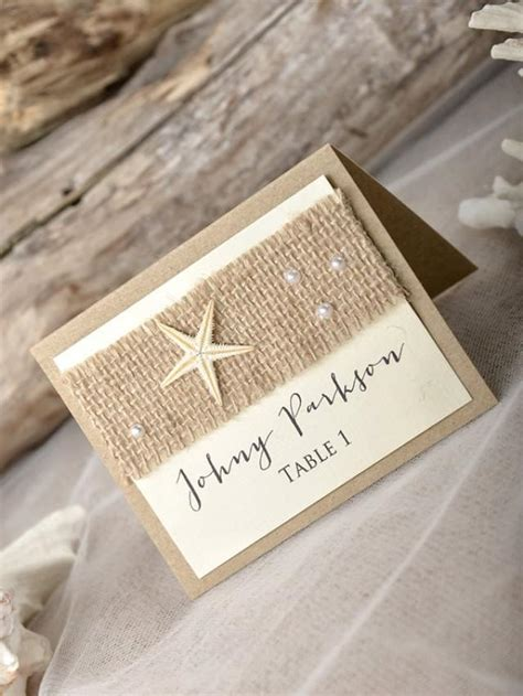 place ideas rustic wedding place cads 20 place cards seashell crads rustic name