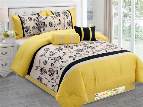 7 pc flocking floral garden comforter set yellow black