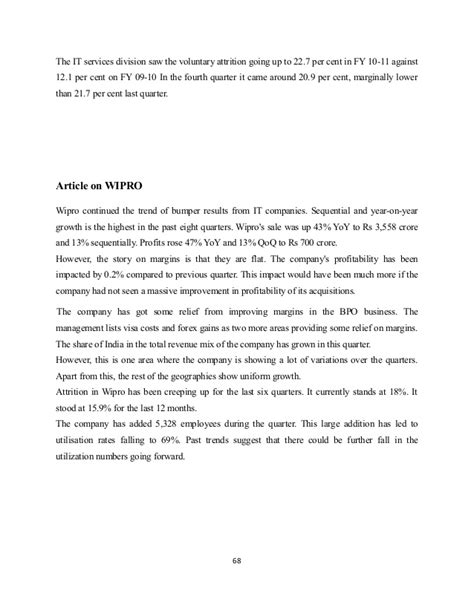 Employee Attrition Project Mba by Project Report On Employees Turnover In It Sector Wipro