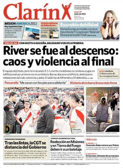 los diarios de emilio esf 233 rico bal 243 n el descenso de river en la tapa de los diarios argentinos