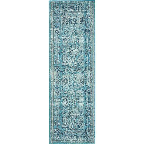 light blue runner rug unique loom vintage palazzo light blue 2 ft x 6 ft runner rug 3136253 the home depot