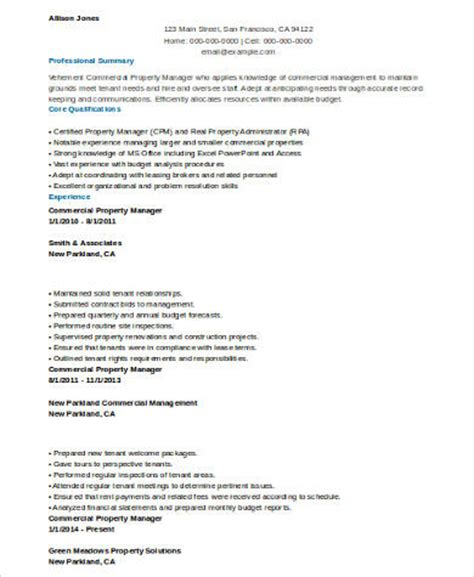 commercial property manager resume sle property manager resume 8 exles in word pdf