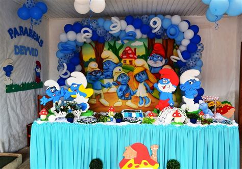 smurfs simple decoration birthday ideas