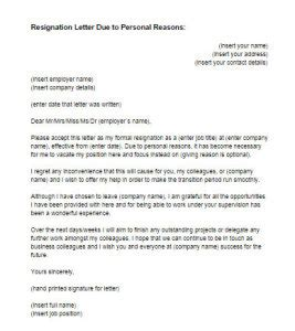 Resignation Letter Due To Personal Reasons Template Resignation Letter Exles Personal Reasons New