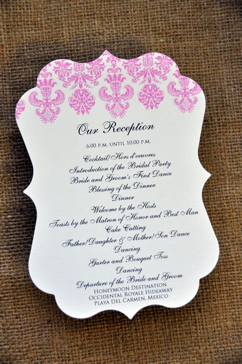 Reception Wedding Program wedding programs for the reception wiregrass weddings