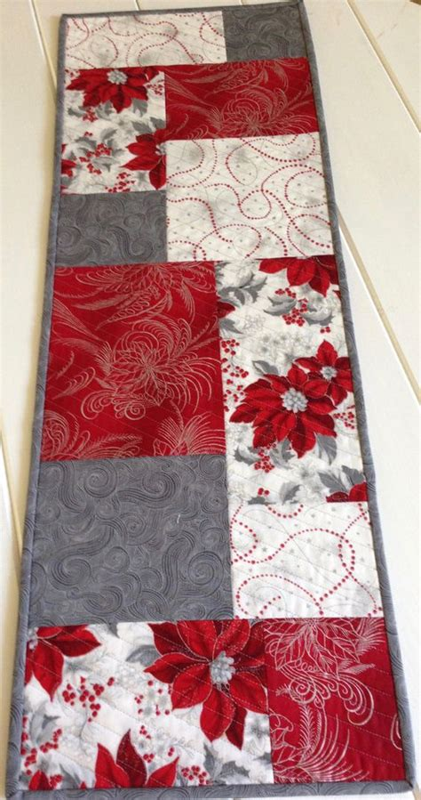 silver christmas runner christmas quilted green poinsettia topper holiday