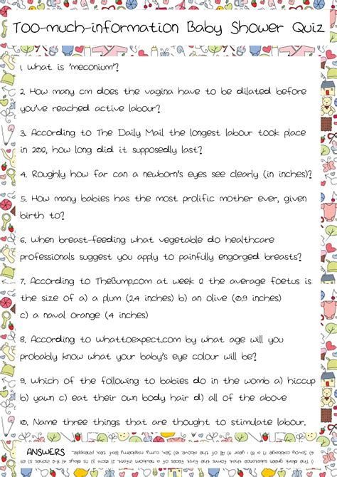 Baby Shower Questionnaire by Baby Shower Quiz Part 2 Josie Robson S Brain Froth