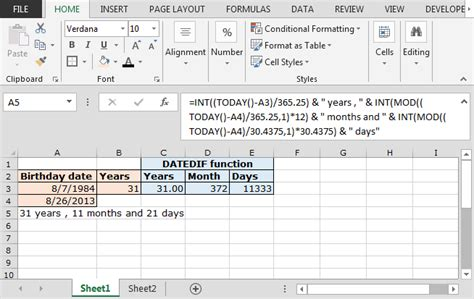 calculate years calculate years months days elapsed from a certain date in microsoft excel