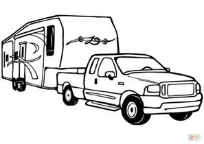 Truck And Trailer Coloring Pages truck and rv cer trailer coloring page free printable