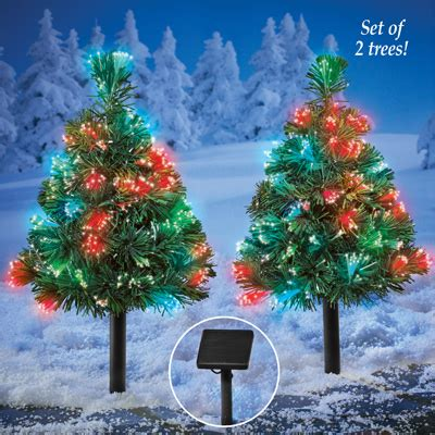 light up outdoor solar mini trees from