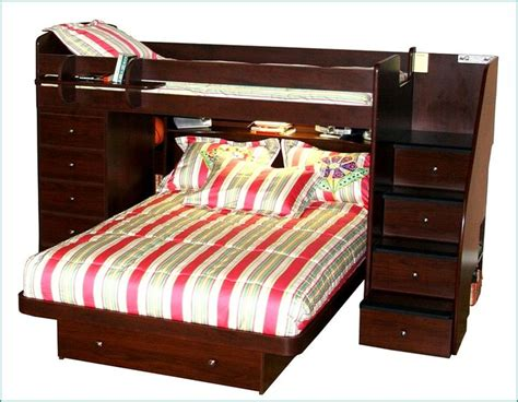 bunk bed queen and twin ideas twin over queen bunk beds with staircase and storage