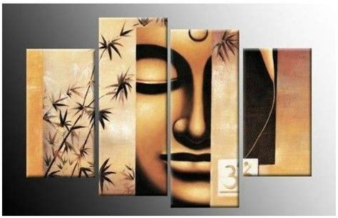 free shipping gold buddha oil painting wall art paintings 4158 handpainted 4 piece golden hues modern abstract wall
