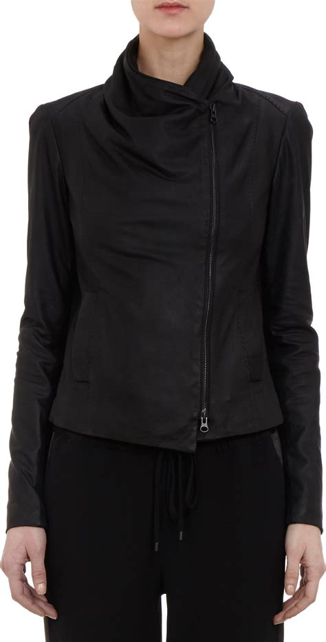 vince draped leather jacket vince draped collar leather jacket in black lyst