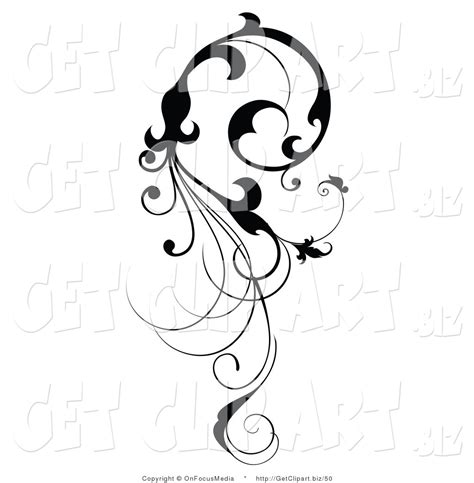 clip art of a vertical black silhouetted scroll vine