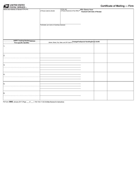 Ps Form 3665 - Certificate Of Mailing - Firm printable pdf
