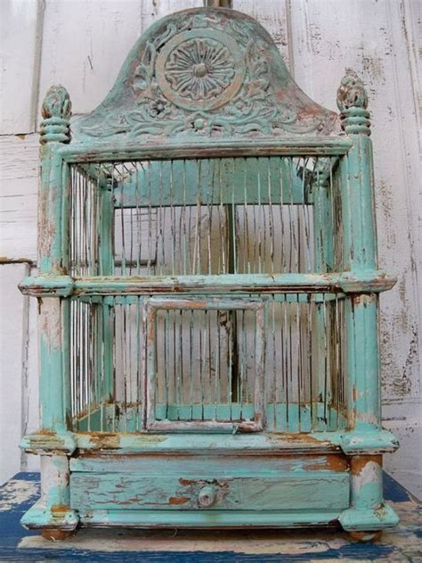 beautiful bird cage and aqua distressed decor turquoise and painted on
