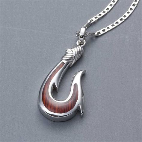 sterling silver wood fish hook necklace landing company