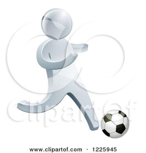 happy blond boy kicking a soccer ball clipart illustration