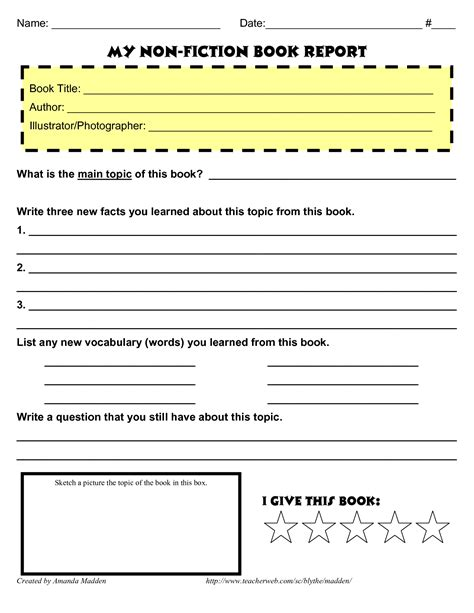 9 best images of nonfiction book report forms printable middle school book report template