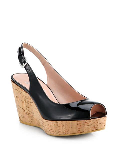 Wedges Sleting Black lyst stuart weitzman jean patent leather slingback wedge pumps in black