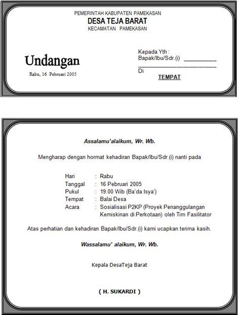 contoh undangan rapat organisasi pemuda contoh isi undangan
