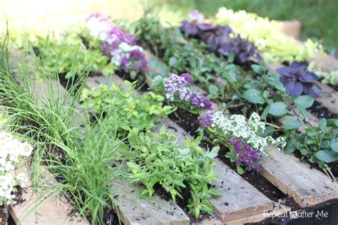 Herbal Garden | repeat crafter me wooden pallet herb garden